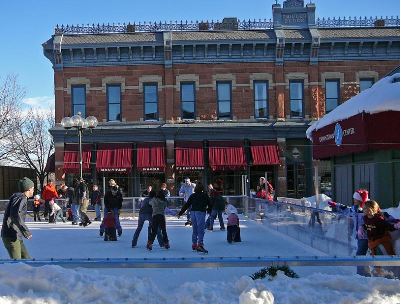 Holiday ice skating in Old Town Fort Collins is one way the city attracts visitors to the area.