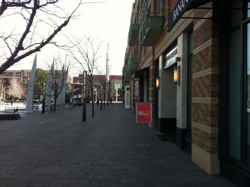 Shops alongside a common meeting/public space at Belmar.
