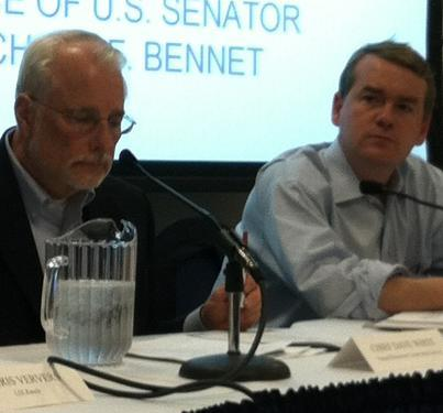 Sen. Michael Bennet (D-Colorado) joined NRCS director Dave White in Greeley Wednesday.