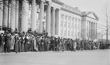 Crowd on the steps of the Treasury