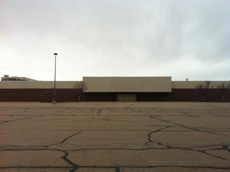 A vacant anchor store entrance at the Greeley Mall