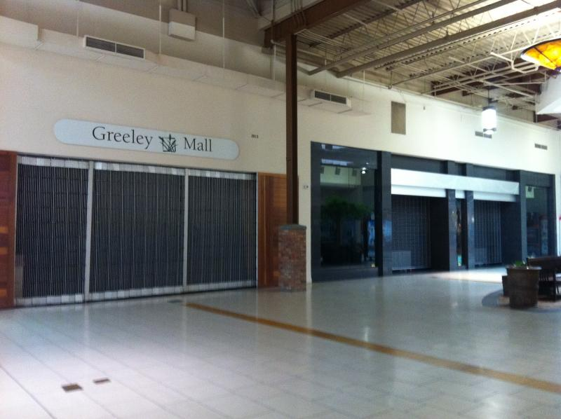 Empty store fronts at the Greeley Mall