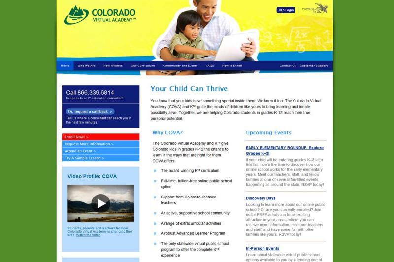 Screencap of the Colorado Virtual Academy homepage