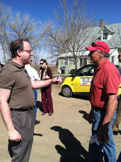 Rep. Polis met with Erie resident Rob Brueke Wednesday who's concerned about the proximity of drill rigs to his land.