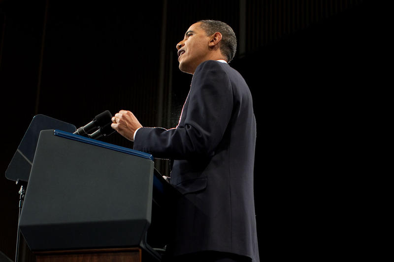 President Barack Obama delivering a speech at the U.S. Military Academy at West Point, Dec. 1, 2009.