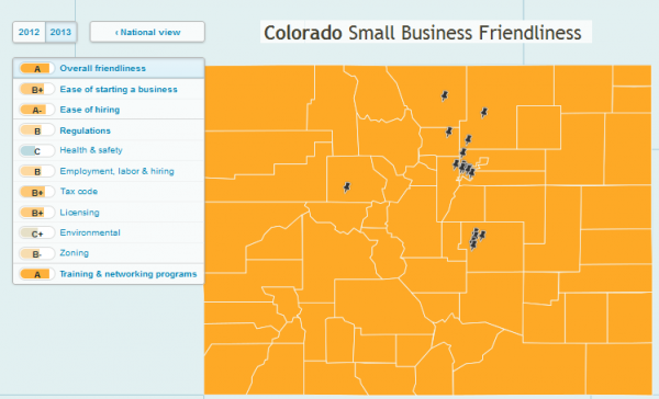 Screencap of the 2013 Colorado's Small Business Friendliness map