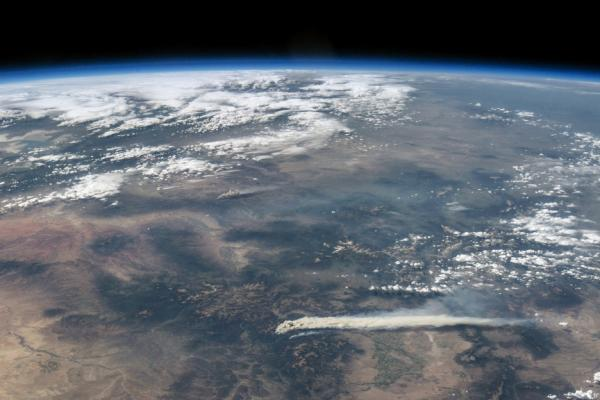 Smoke from Colorado wildfires (Wild Rose at the top, West Fork Complex bottom) billowing toward the East Coast, taken June 19