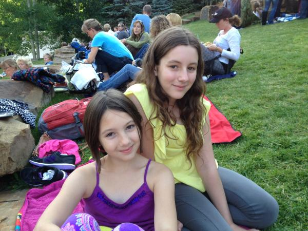 Jude and Brighton Swenson on the lawn at the Vail International Dance Festival