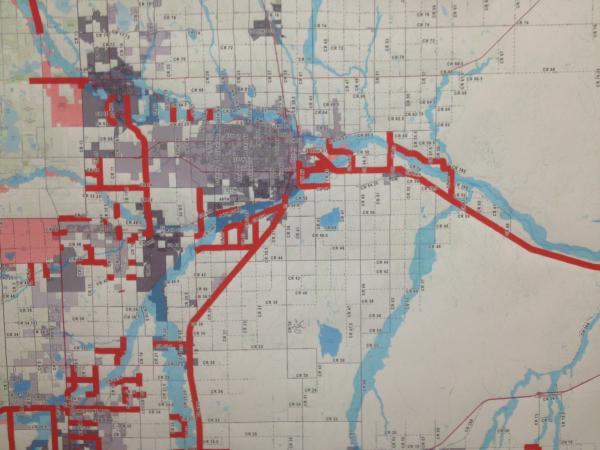 Road closures around Greeley. This map was displayed at the Saturday news conference, Sept. 14.