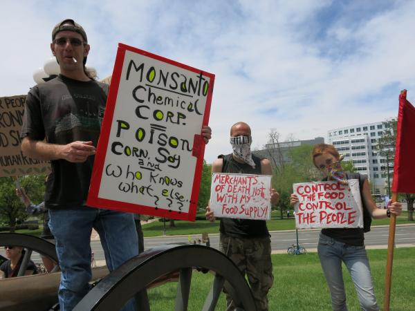 Protesters in Denver rallied this past summer at the state capitol, asking legislators to act on a GMO labeling rule.