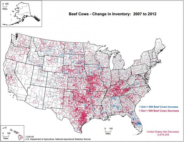 Six Cool Maps From The Farm Census KCUR - Dairy Farm Dot Map O Us