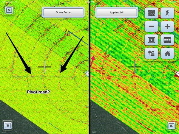 A screengrab of some of the newest technology in the market available to farmers; providing a comparison of applied down force to measured down force. The map on the right shows how often the DeltaForce system is reacting to the changing field conditions. The map on the left reflects how much force is actually being measured at the depth limiting gauge wheels, demonstrating why the varying amounts of down pressure are needed to place the seed at the same planting depth in different areas of the field.