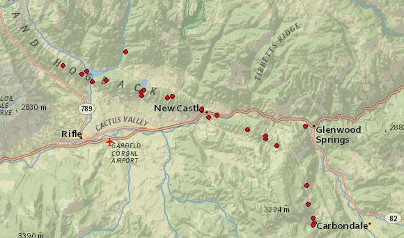 "The federal Office of Surface Mining keeps an inventory of all ""problem mines"" across the country. Not all are underground fires, but a handful of those red dots around New Castle indicate a smoldering mine."