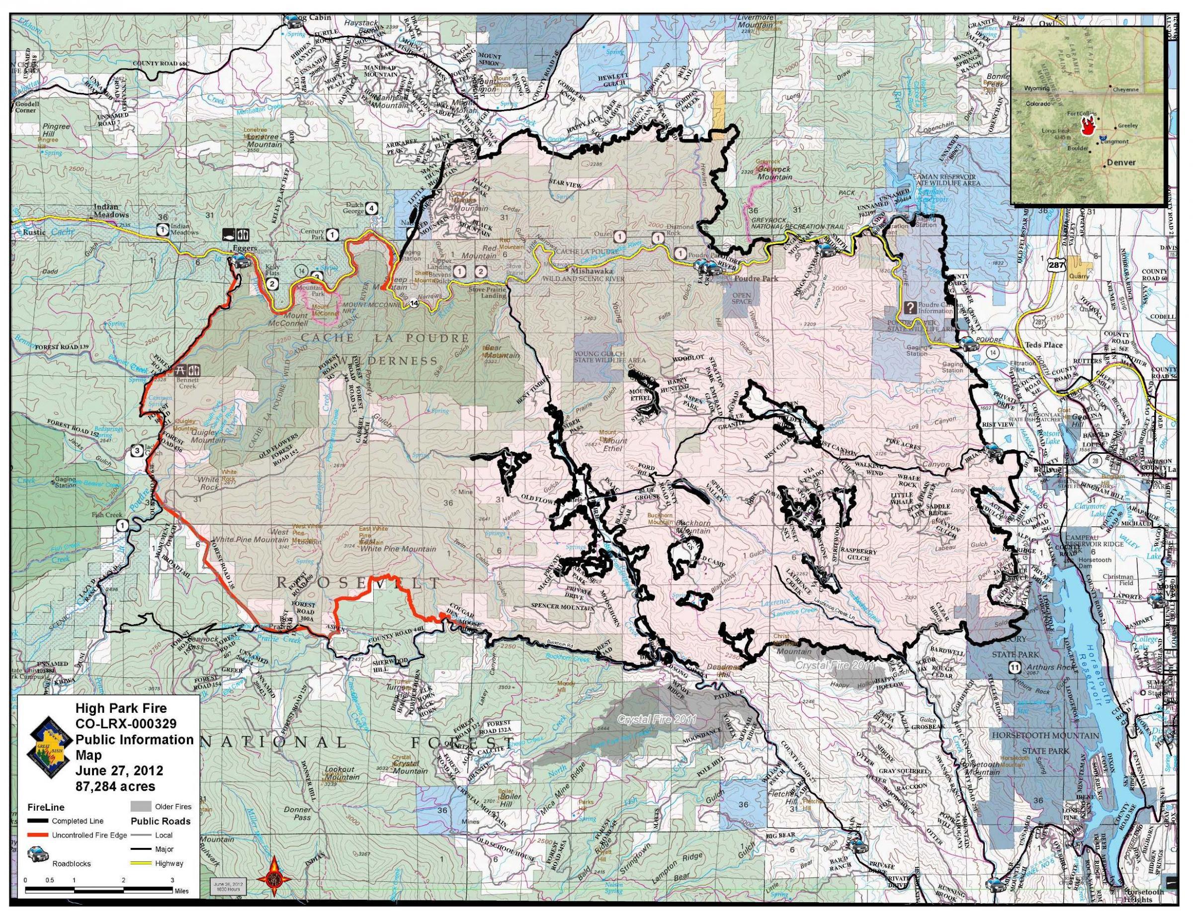 High Park Fire Map.High Park Fire Crews Make Progress Fire 75 Contained Updated Kunc