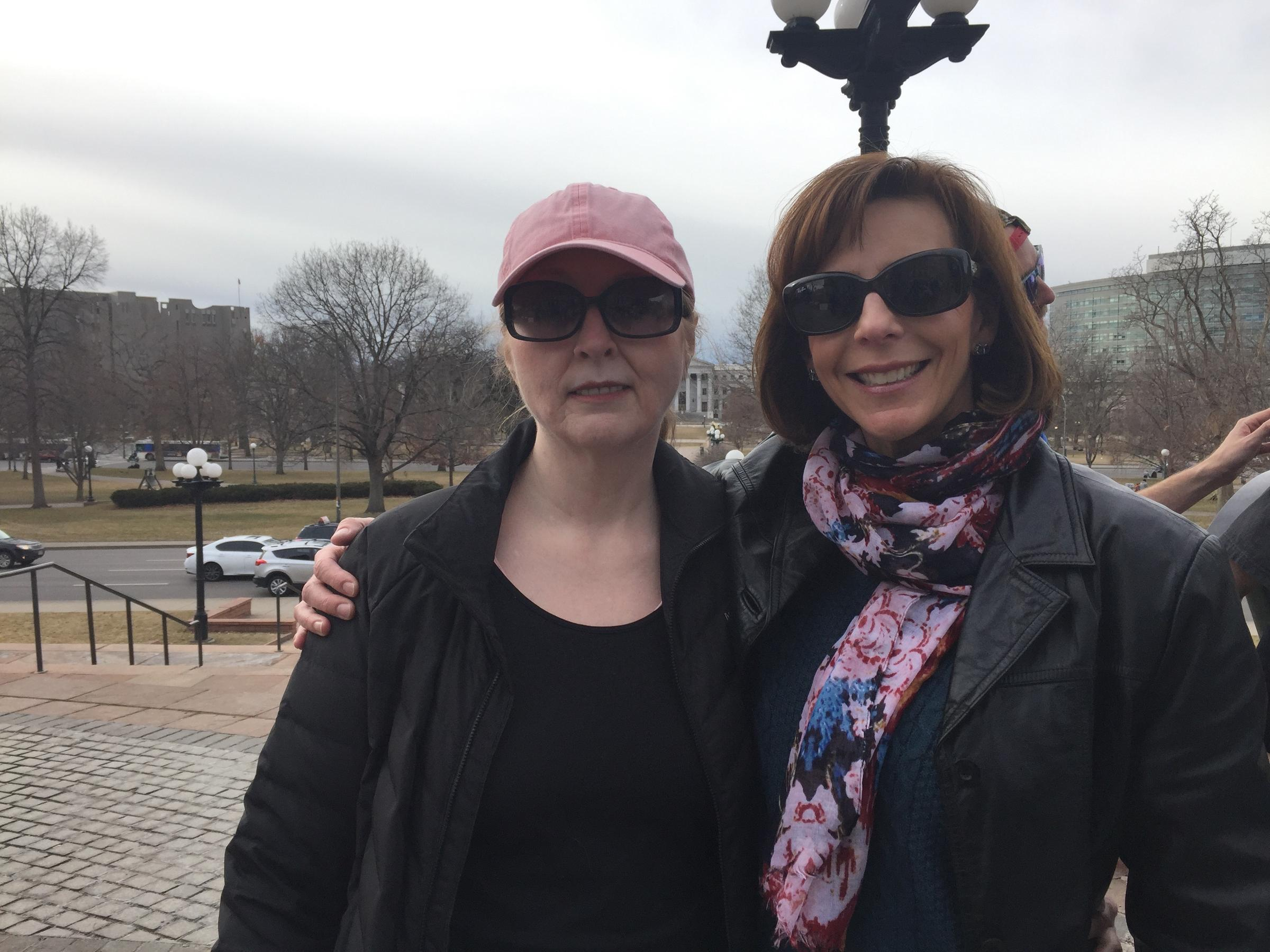 Julie Simons of Broomfield and Kathy Henson of Thornton attended a rally at the state capitol on Tuesday in support of the Affordable Care Act. Both said the law has helped them get more affordable coverage