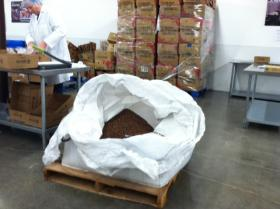 What's left of a 2,000 pound bag of beans.