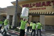 Protestors in front of a California Walmart earlier this month