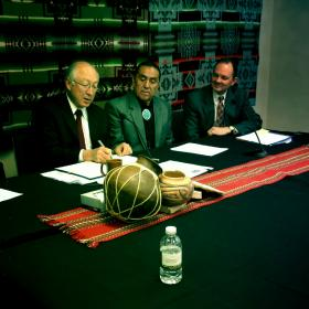 Left to right: Secretary of the Interior Ken Salazar, Pueblo of Sandia Governor Victor Montoya, and Assistant Secretary of Indian Affairs Kevin K. Washburn