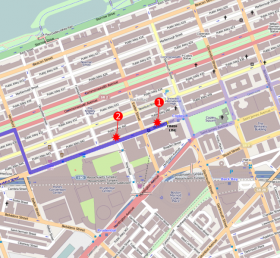 Map showing the Boston Marathon route and location of bombs that exploded on April 15th, 2013.