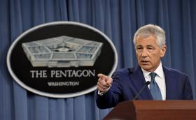 Secretary of Defense Chuck Hagel takes questions from reporters on the recently announced DoD Sexual Assault Prevention Initiatives during a press conference in the Pentagon on May 7, 2013.