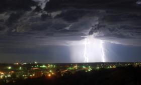 Lightning strikes near Silver City, NM.