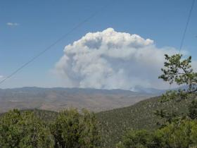 The column of smoke from the Silver Fire on June 18, 2013.