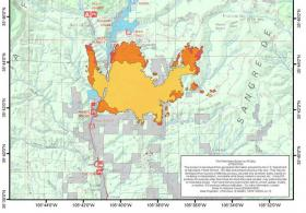 The Tres Lagunas fire progression map from June 3, 2013.