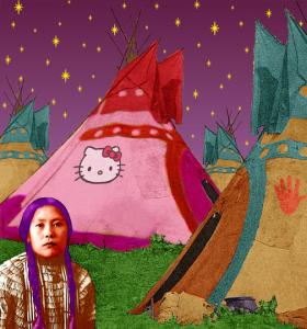 "Debra Yepa-Pappan plays with cultural trends and stereotypes in ""Hello Kitty Tipi,"" part of the new 516 ARTS show."