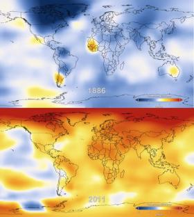 Earth temperature data from 1886 on top, from 2011 on the bottom. Orange =  1 degree Celsius, Red =  2 degrees Celsius