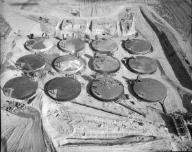 Aerial view of a Hanford Nuclear Reservation tank farm.