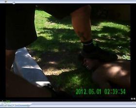 A screenshot from a lapel camera during the arrest of a suspect by Albuquerque Police in 2012.