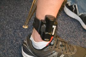 An ankle monitoring device used to track CCP participants