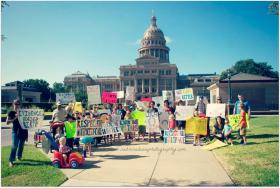 "A gathering for the ""Rally To Improve Birth"" in front of the Austin TX. Capitol Building."