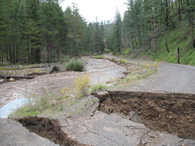 Damage to Forest Road 141 south of Reserve, NM.