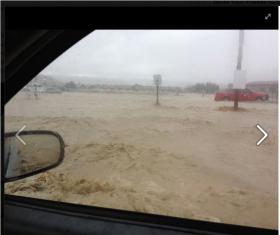 Screenshot from the Facebook page of the Navajo Technical University showing flooding at the campus in Crownpoint, NM.