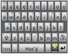 Screenshot of the keyboard of an android phone with the Navajo Keyboard app.