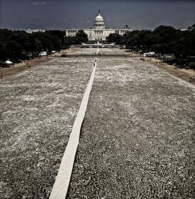 In June 2013, one million bones made by people all over the world were laid out on the National Mall to call attention to genocide.