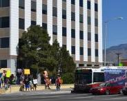 Protesters rallied in support of more funding for security on ABQRide buses on Sunday, October 6th, 2013.