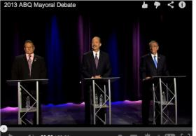 A screenshot from the New Mexico In Focus 2013 Mayoral Debate hosted by Gene Grant on September 30th.