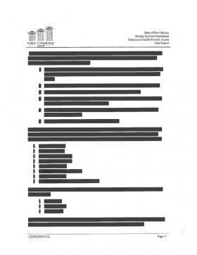 Many pages of the behavioral health audit were partially or fully redacted.