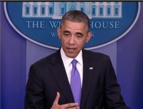 President Obama answers questions from the press after announcing the changes to the ACA.
