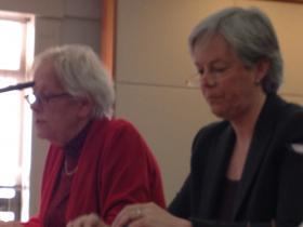 Elizabeth Martin (R) addresses Legislative Finance Committee members on Jan. 20, 2014.  LFC staff Pam Galbraith sits to her right.