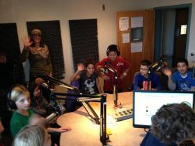 Some of Ms. Hawes' 5th graders joined us in the studio at KUNM