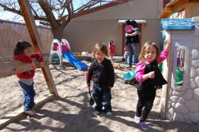 Children play after a healthy meal at Serendipity Day School in Albuquerque