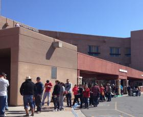 Several hundred people waited for hours to sign up for healthcare on Saturday, March 29