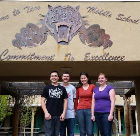 The Taos High team worked out of a lab at the middle school. From left: James Valerio, Anthony Archuleta, Andrea Chin-Lopez and Julia Johnson.