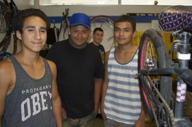 High school kids who spend a lot of time at the Esperanza Community Bike Shop can get school credit for bicycle mechanics through a work study program.