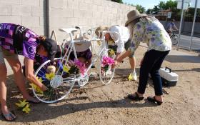 On the anniversary of Higgins' death many of her friends and family members gathered at her ghost bike.