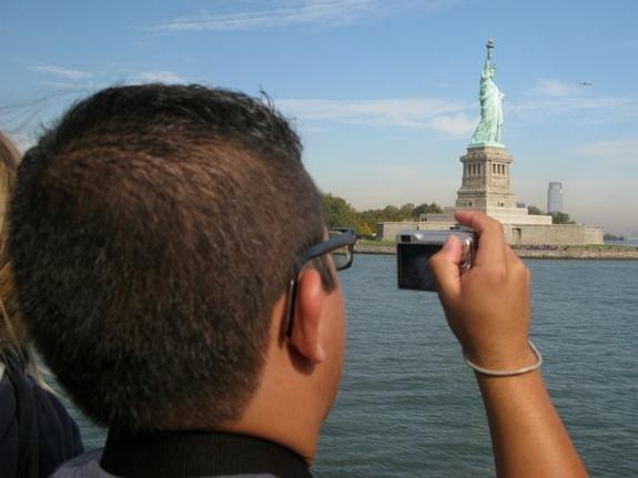 Sam's first trip to New York included a visit to the Statue of Liberty. Although most Latino immigrants do not trace their migration through Ellis Island, the symbolism of Lady Liberty is not lost on Sam.