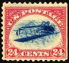 "The famous ""Jenny Invert"" - a rare 1918 American postage stamp, where the central image appears inverted."